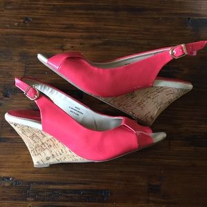 "Cato Coral and cork sling back 3.5"" wedges 8W"